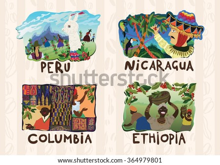 Set of vector coffee labels with colorful illustrations in naive ethnic style. Coffee production in Peru, Nicaragua, Columbia, Ethiopia