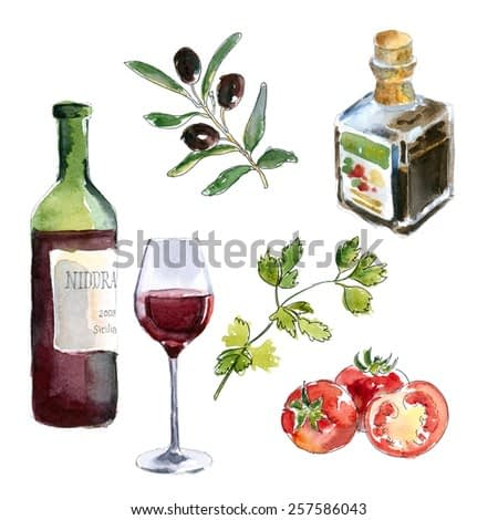 Watercolor Collection of food ingredients. Hand painted Illustration isolated on white