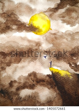 abstract human mind spiritual full moon night power watercolor painting illustration design hand drawing