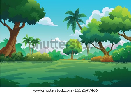Vector illustration of mountains and trees in autumn.