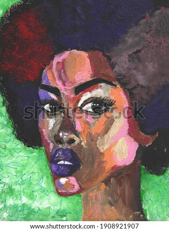 Black lives matter. African woman portrait pop art style picture. African woman painting. Colorful Exotic Portrait of a Beautiful Dark Skinned Woman