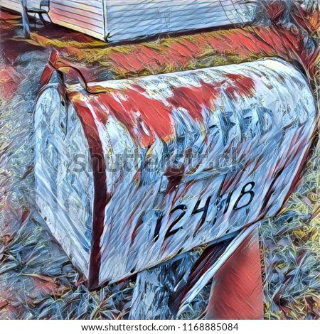 Abstract Folk Art Rural Mailbox In Red White And Blue