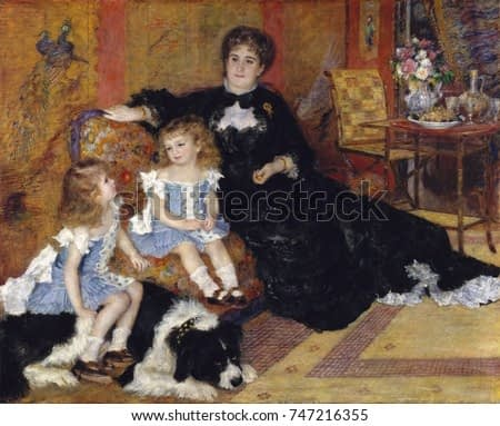 Mme. Georges Charpentier and her Children, by Auguste Renoir, 1878, impressionist oil painting. This commissioned portrait of the influential wife of publisher Georges Charpentier is one of Renoirs ma