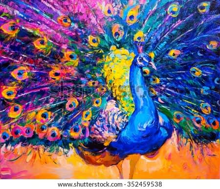 Original oil painting on canvas. Colorful peacock. Modern art