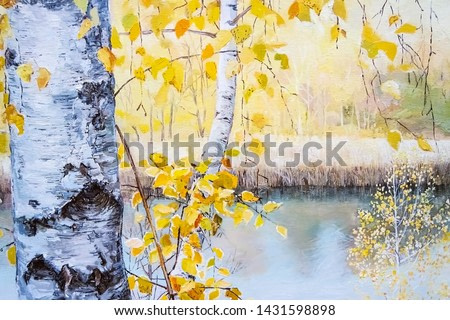 Autumn landscape. Birch tree with branches and golden yellow leaves are depicted, bark painted in detailed. In the background is a lake under bright daylight. Oil painting on canvas