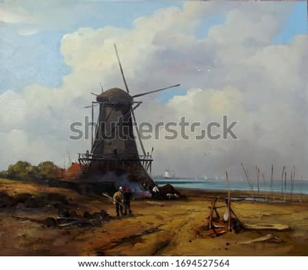 a windmill on the shore with figures of people on a background of beautiful clouds,oil painting, fine art, figures of people, windmill, sky, landscape, nature