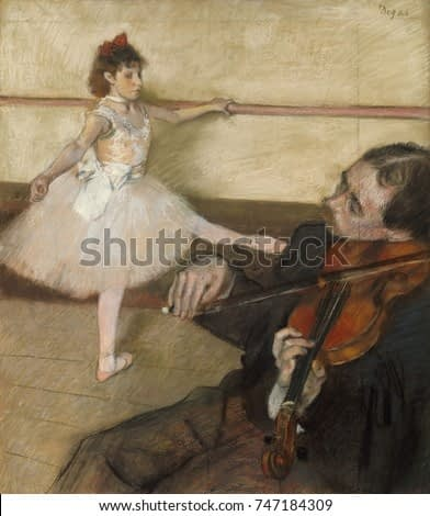 The Dance Lesson, by Edgar Degas, 1879, French impressionist drawing, pastel on paper. Degas added a panel of paper at top and on right to incorporate the violin player