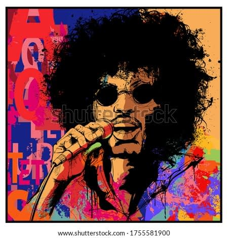 seventies rock star singer - vector illustration (Ideal for printing on fabric or paper, poster or wallpaper, house decoration) The portrait is totally fictitious