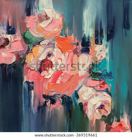 Colorful flowers Original oil painting
