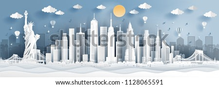 Panorama of top world famous landmark of New York city, America for travel poster and postcard, in paper cut style vector illustration.