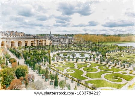 Watercolor painting Garden of Versailles palace southwest of the centre of Paris.