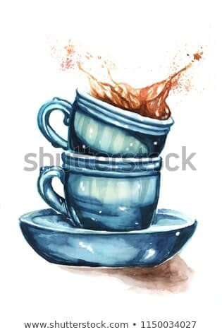 Cups of coffee painting, watercolor illustration