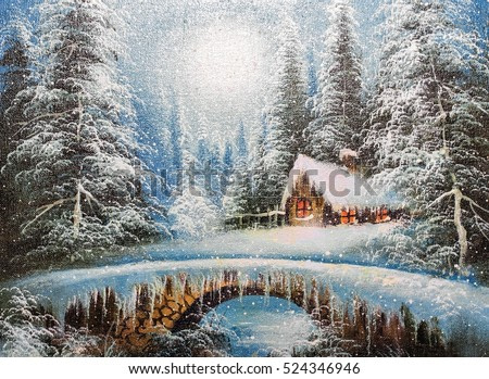 texture oil painting, impressionism oil painting winter landscape