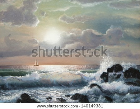 sea sunset, Oil painting