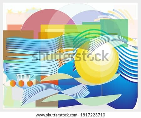 Abstract pattern design composition with simple geometrical forms and cutout colorful shapes. Summer concept background. Vector
