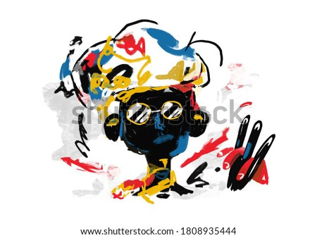 Portrait of African Man with Sunglass. Painting, Modern Abstract Graffiti illustration. Paint with Primary Color. Contemporary art for Print and Poster