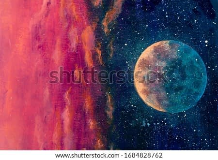Fantastic oil painting beautiful big planet moon among stars in universe. Fantasy concept cosmos fine art paintingartwork for book illustration