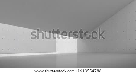 Abstract of concrete interior with sun light cast the shadow on the round sculpture, Geometric structure design,Museum space,Perspective of brutalism  architecture,3d rendering