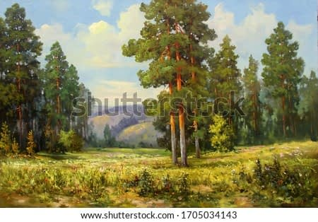 pines and wildflowers in a clearing illuminated by the sun,oil painting, fine art, summer, bloom, park, landscape, nature