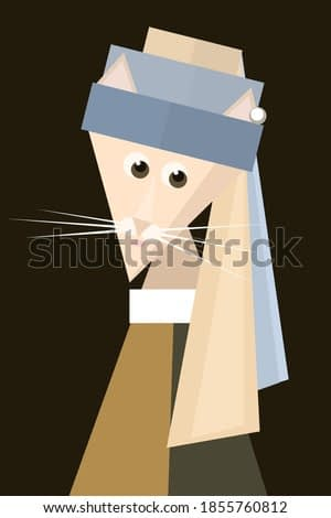 Geometric simple shapes cartoon cat (girl) with pearl earring. Inspired by famous painting of Baroque Period painter  Jan Vermeer. Spoof vector illustration.