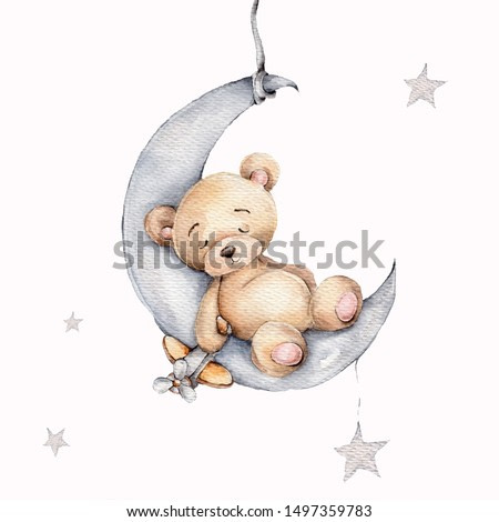 Watercolor hand draw illustration brown teddy bear boy sleeping on the moon with airplane toy in his hand; can be used for cards, invitations, baby shower, posters; with white isolated background