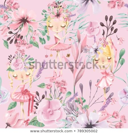 Beautiful watercolor floral seamless pattern with cute ballet girls, ballerinas. Abstract roses, peony, lilacs and branches on pink background