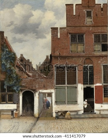 View of Houses in Delft, Johannes Vermeer, 1658, by Dutch painting, oil on canvas. An alternate title is 'The Little Street.' A woman is bent over a washtub in the alley between houses. Another women