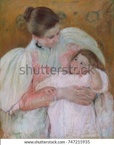 Nurse and Child, by Mary Cassatt, 1896-7, French impressionist painting, oil on canvas. Cassatts pastel techniques were influenced by those of her friend Degas