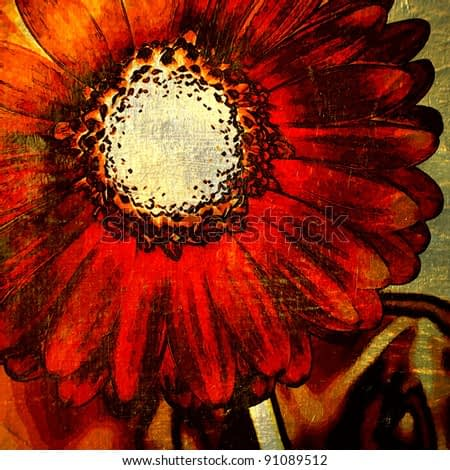 art red and gold floral grunge graphic background