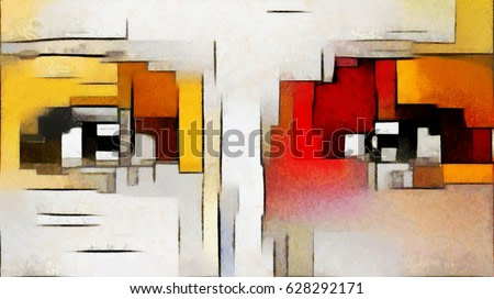 A feminine look. Primitive cubism. The minimalist story in vivid colours. Modern pop art Made in oil on canvas in the style of Piet Mondrian. Suitable for the concept of interior design or wall poster