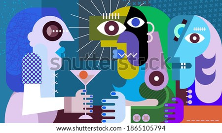 A women with a cocktail. Three friends drinking cocktails at nightclub party. Modern abstract art graphic illustration.