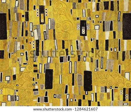 Digital painting seamless pattern of geometric black and white rectangular shapes and swirling lines on golden background in the style of Vienna secessionist ornamental and Klimt patterns.