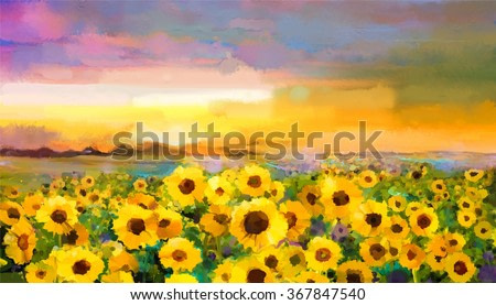 Oil painting yellow- golden Sunflower, Daisy flowers in fields. Sunset meadow landscape with wildflower, hill and sky in orange, blue violet  background. Hand Paint summer floral Impressionist style