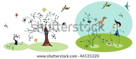 Girl and bird and tree in Miro style