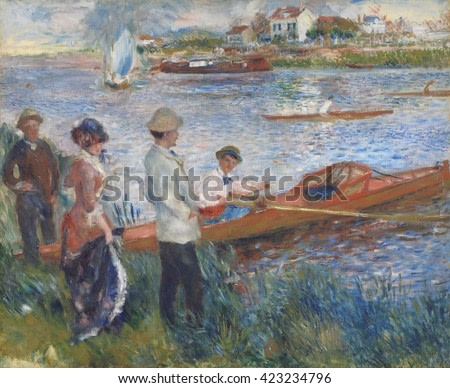 Oarsmen at Chatou, by Auguste Renoir, 1879, French impressionist painting, oil on canvas. The man in this boat may be the artist's brother, Edmond. The man standing on the bank, similarly attired, is