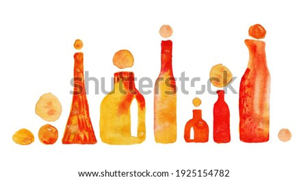 Watercolor abstract set of orange and red bright bottles in different sizes and shapes with spots.