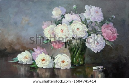 beautiful white and pink peonies in a glass vase,oil paintings on canvas, fine art, reflection, still life, vase, flowers, spring