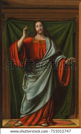 CHRIST BLESSING, by Andrea Solario, 1490-1524, Italian Renaissance painting, oil on wood. This figure is painted slightly larger than life and rendered with deeply modeled volumetric forms. It must ha