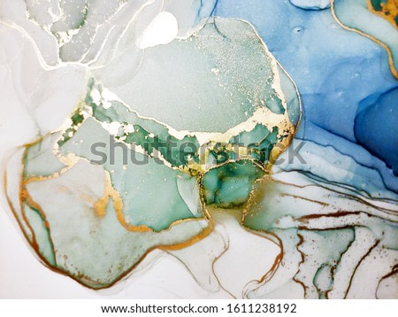 Background for Cards. Navy blue and White color Spray. Blue ice Dots. Golden Ink spilled. Aquamarine Dirty Gouache Blur. Alcohol Ink Stains. Alcohol Illustration.