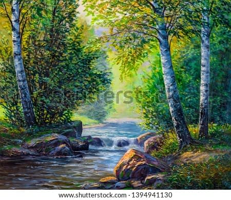 Oil painting landscape , colorful summer forest, beautiful river with a waterfall