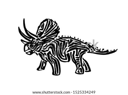 Ancient extinct jurassic triceratops dinosaur vector illustration ink painted, hand drawn grunge prehistoric reptile, black isolated silhouette on white background.