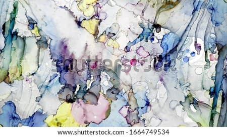 Design for Card. Bubbles Water print. Blue Colorful Hand Drawn. Fluid Divorces. Indian Holi Festival. Pigment Alcohol ink. Meteorite powder.