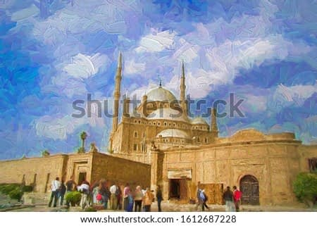 Groups of tourist visiting The Great Mosque of Muhammad Ali Pasha in the afternoon, which is one of the landmarks and attractions of Cairo, Egypt. Abstract oil painting.