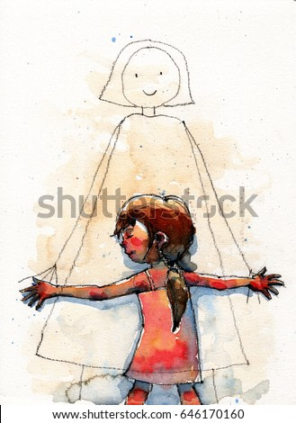 watercolor illustration of girl hugging mom cartoon image on the wall, handmade traditional artwork scanned