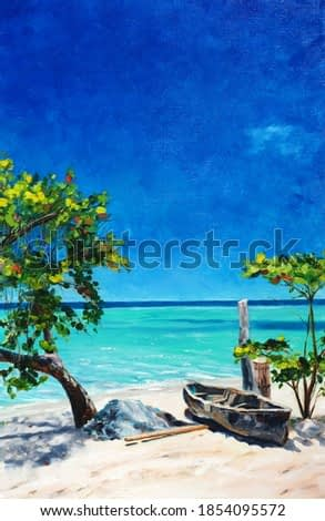 Original oil painting on canvas - Beautiful Sunny Caribbean Sea - Jamaica - Seascape with turquoise water and boat on the beach - Blue sky, white sand and tropical plants