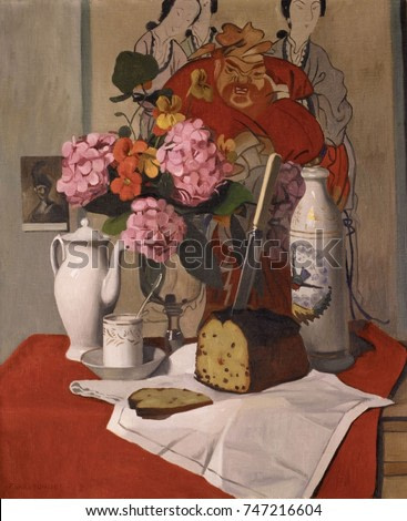 Still Life with Flowers, by Felix Vallotton, 1925, Swiss/French painting, painting, oil on canvas. A print of a Rembrandt painting symbolizes traditional European painting, while the large East Asian