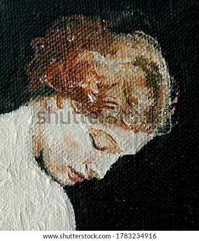 Woman closes her eyes. The background is dark. Created in the classic style, oil painting on canvas.