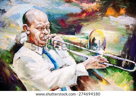 oil painting, Black Jazz Flugelhorn Player