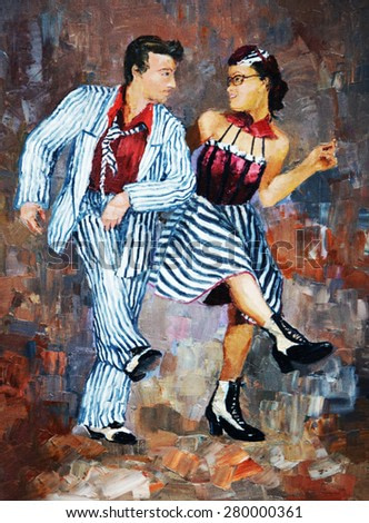 oil painting,dancers digital painting/tango dancers