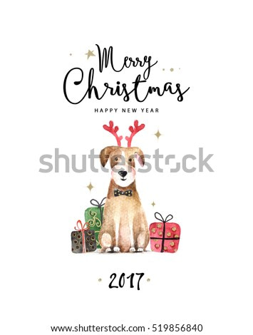 Merry Christmas and Happy New Year illustration. Watercolor illustration of dog.